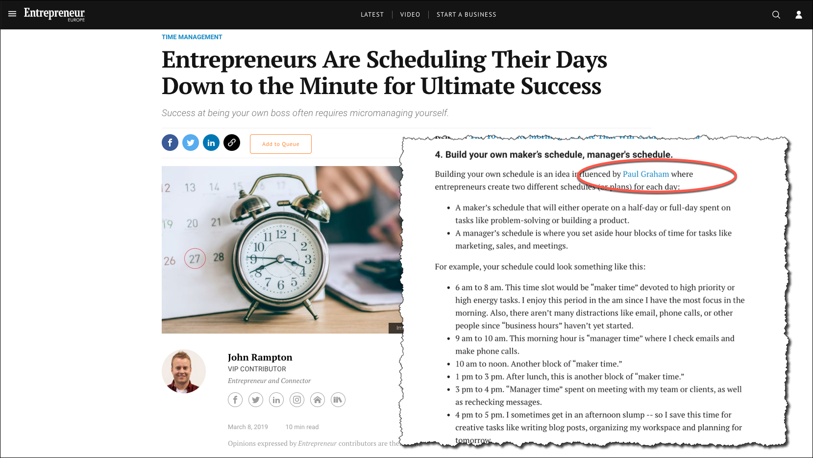 Alarm Clock for Entrepreneurs