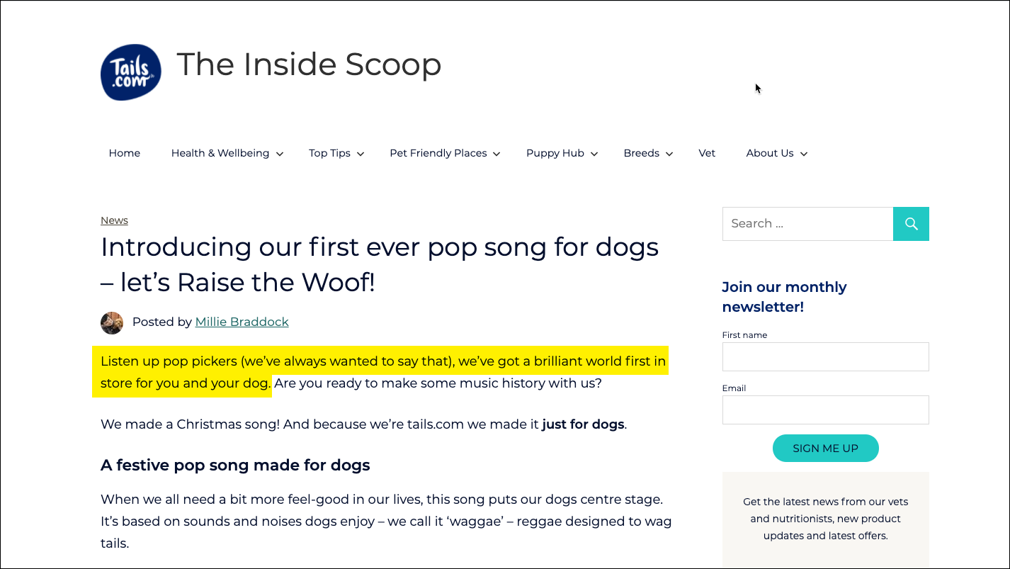 Tails.com introduce the first ever pop song especially for dogs on their own site