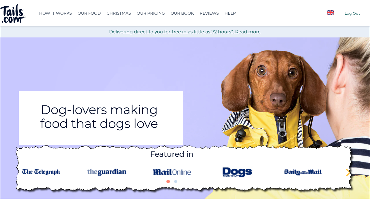 Cute dog and list of media coverage featuring Tails.com