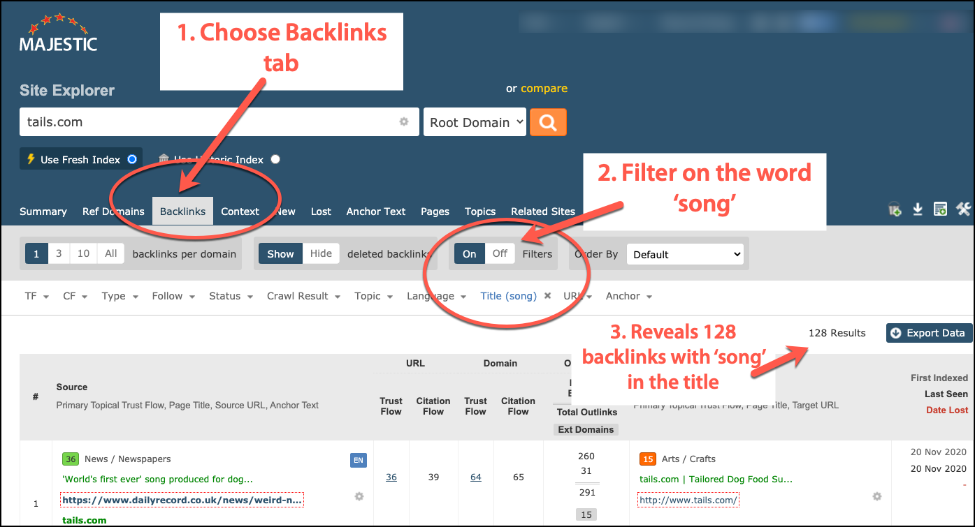 More media backlinks discovered with Majestic filtering