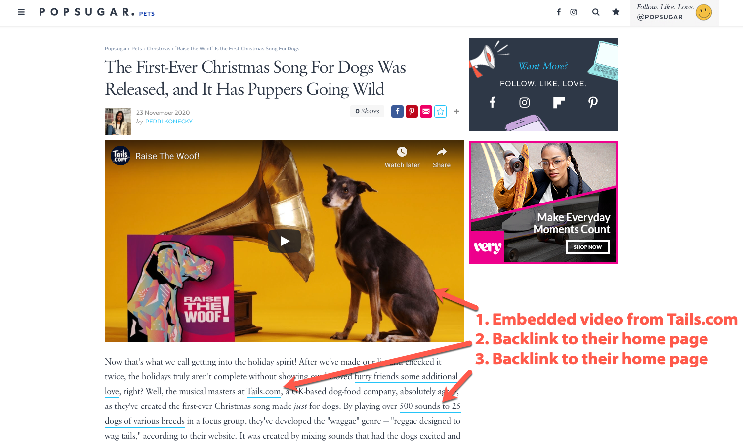 First Christmas Song aimed at Dogs earns media backlinks and embedded video on Popsugar